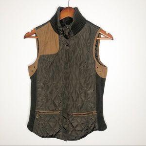 Zara basics olive green quilted utility vest